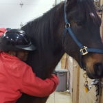 Student hugging horse