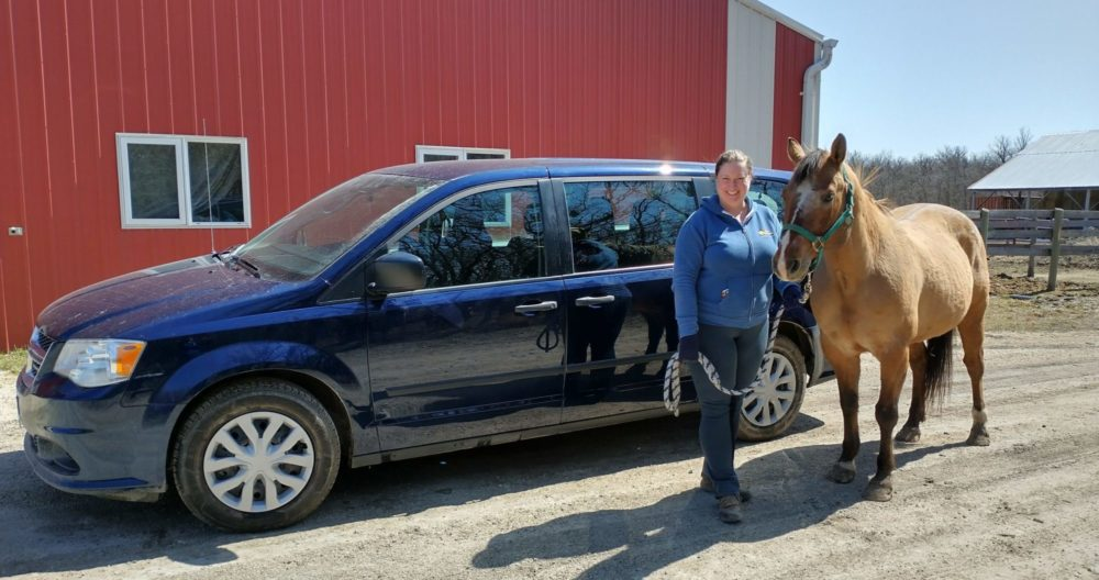 Van with person and horse